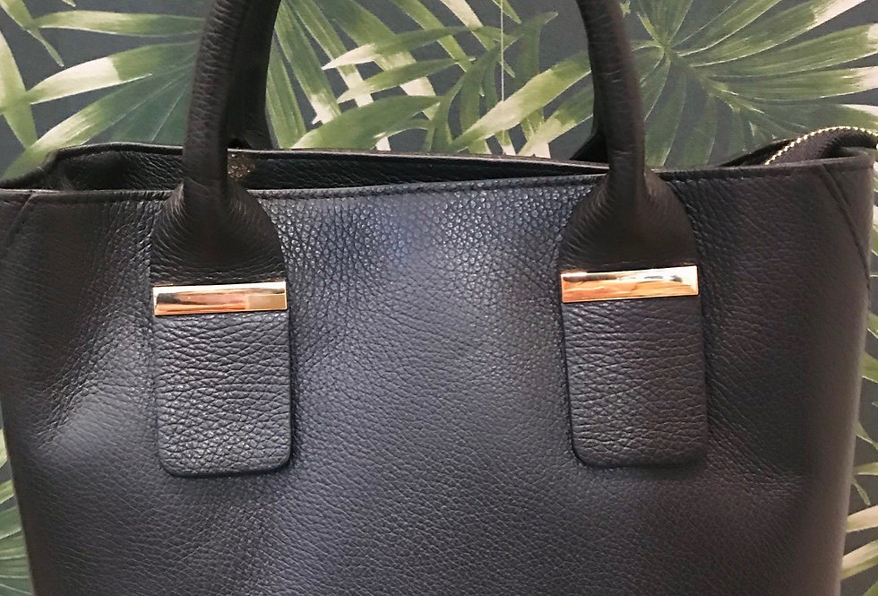 Silver Trim Leather Bag
