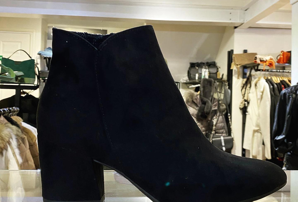 Black Suede Block Heel Ankle Boot
