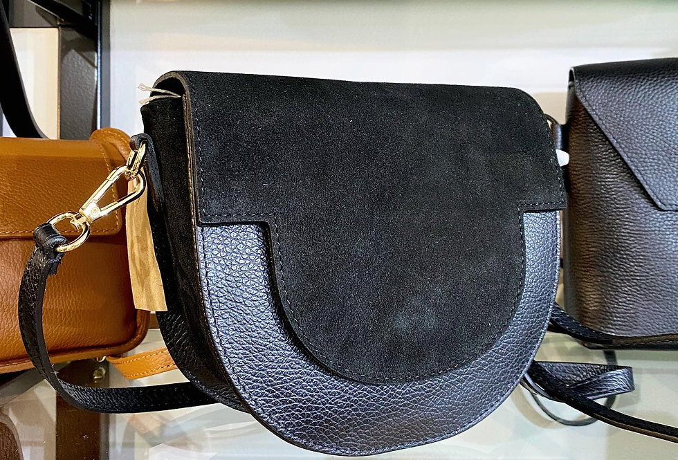 Leather Black Saddle Bag
