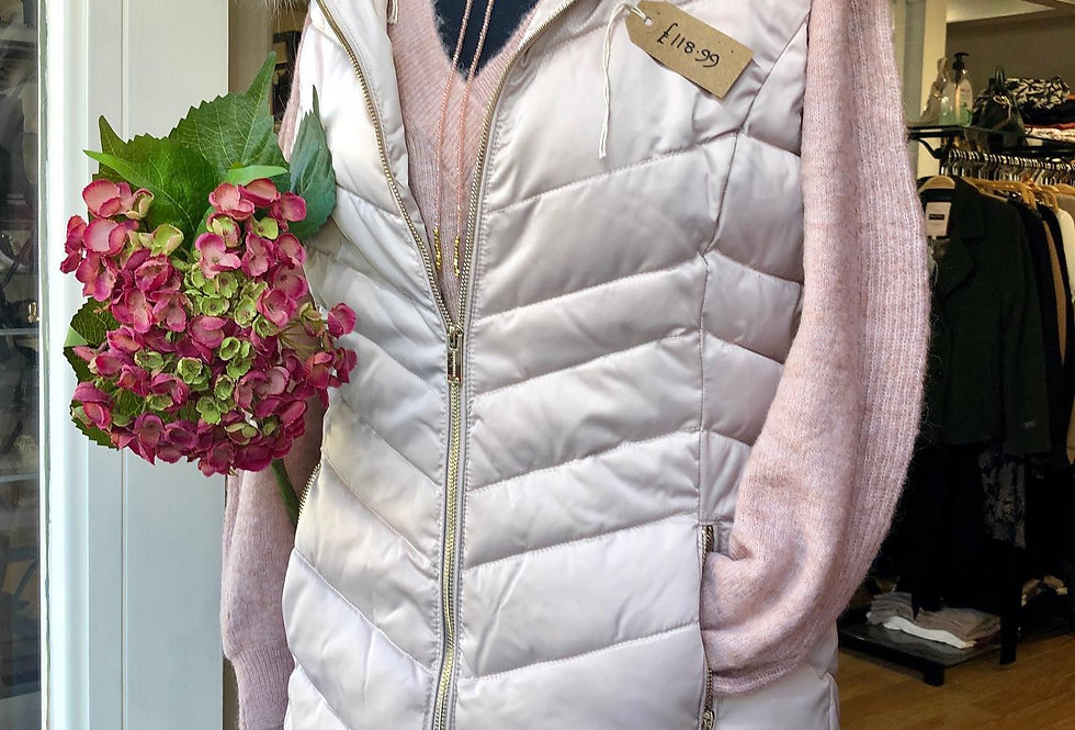 Oyster Gillet With Fur Collar