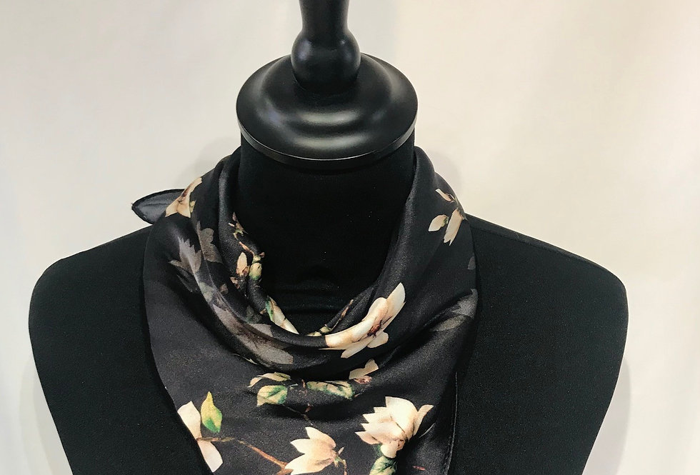 Black Floral Silk Square