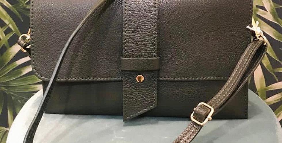 Dark Green Leather Envelope Bag with Belt Detail