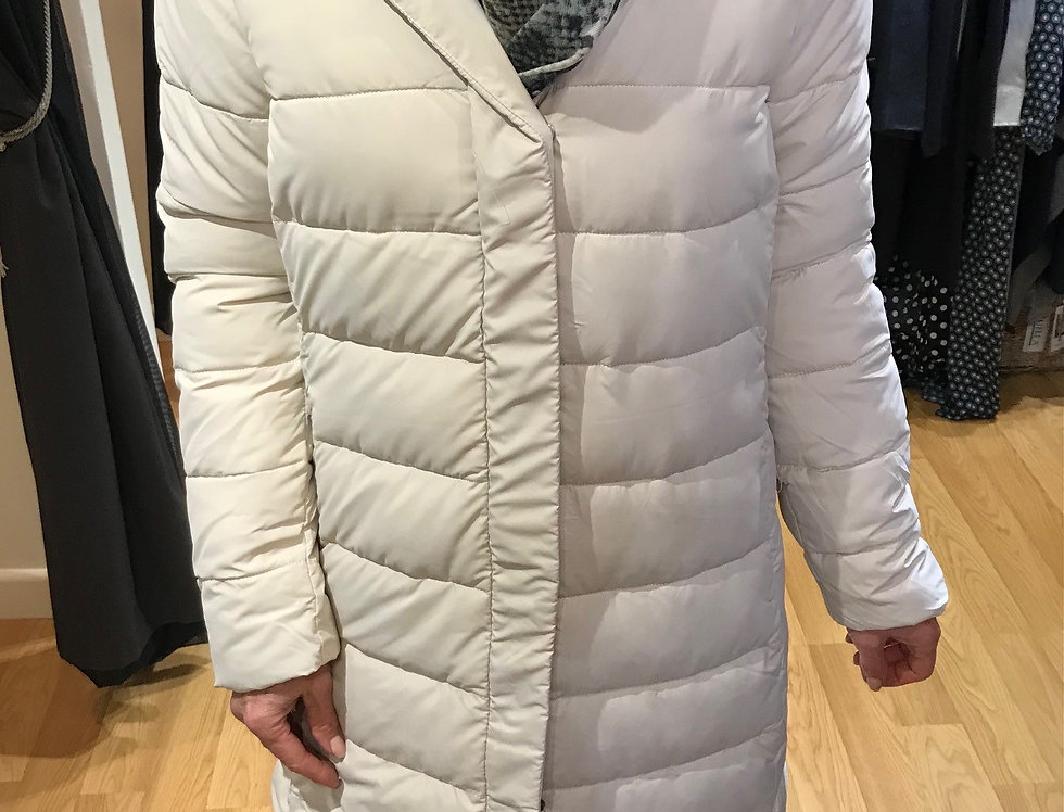 Cream Long Puffa Coat