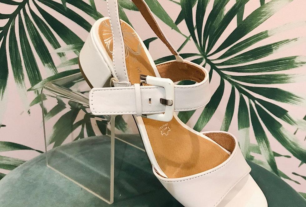 Low Heel White Sandal