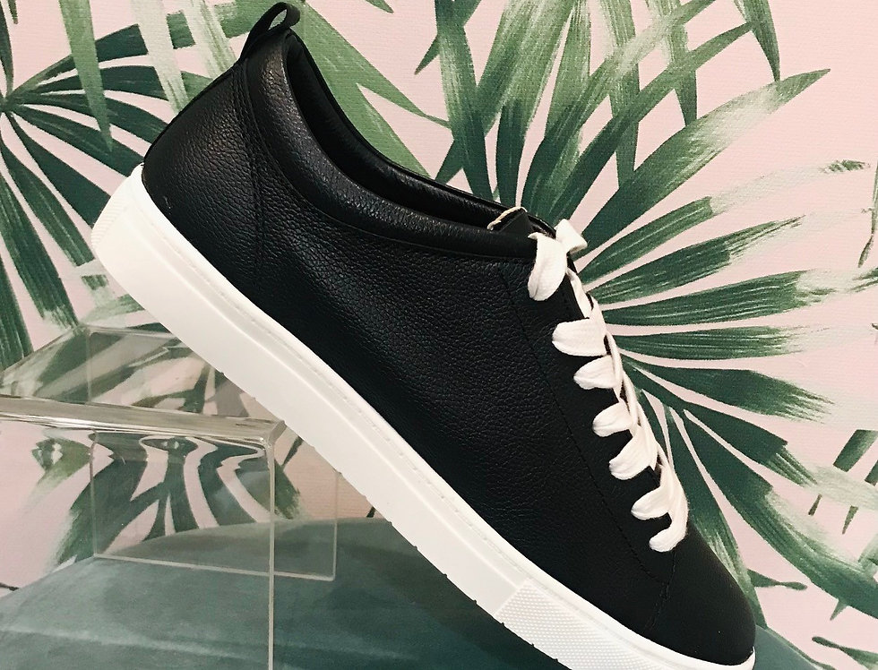 Black Leather Trainer