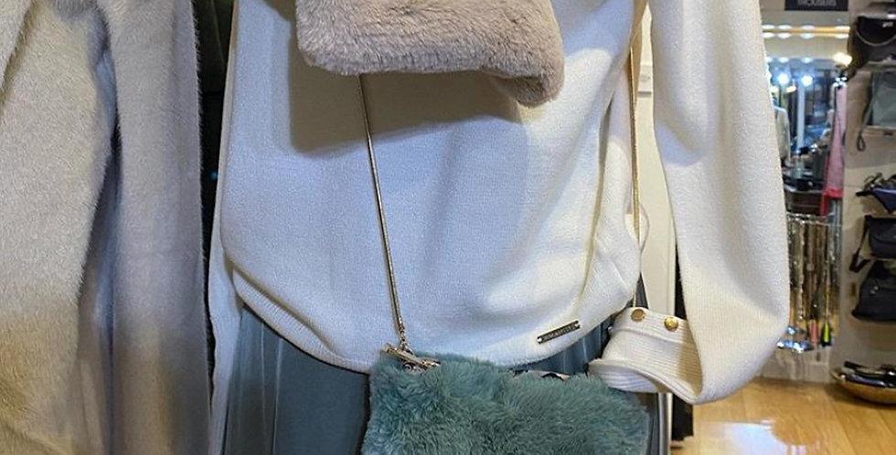 Sage Fluffy Bag with Leopard Detailing