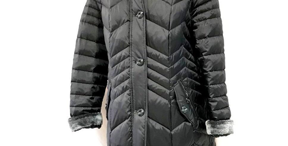 Dark Grey Long Coat with a Furry Collar