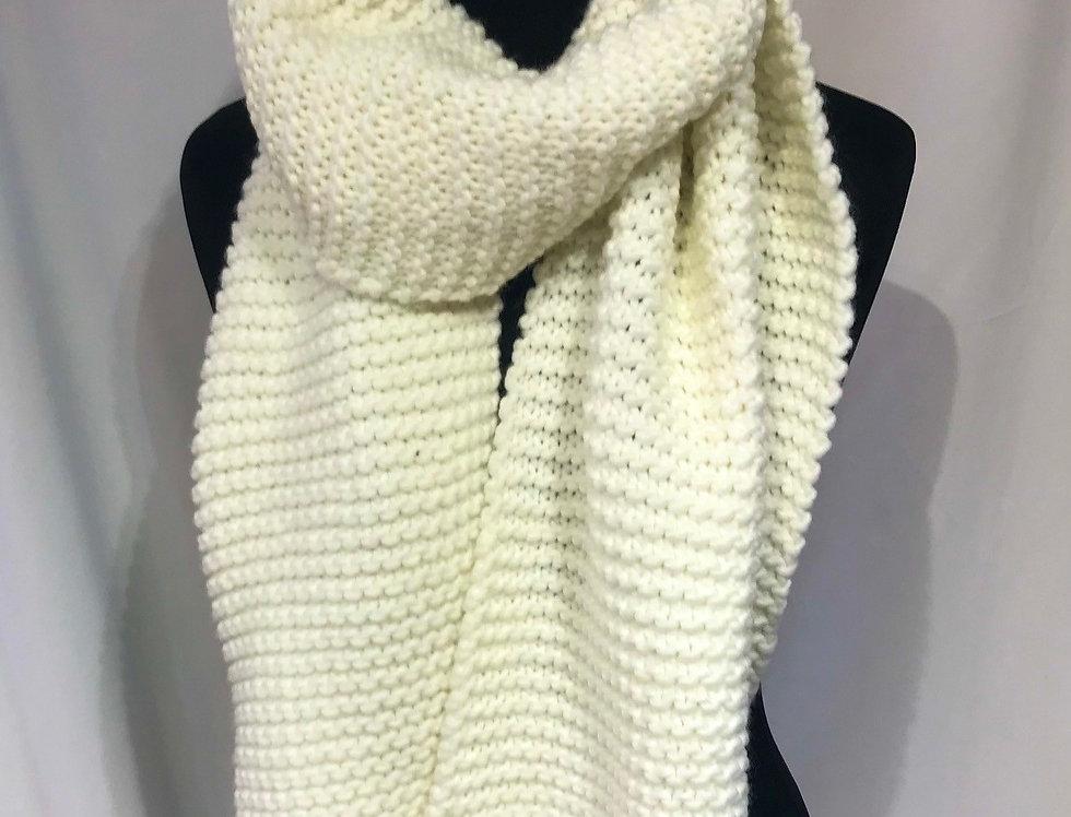 Cream Hand Knit Look Scarf