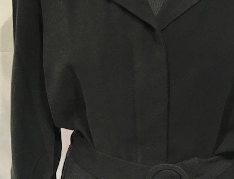 Belted Long Sleeve Black Dress
