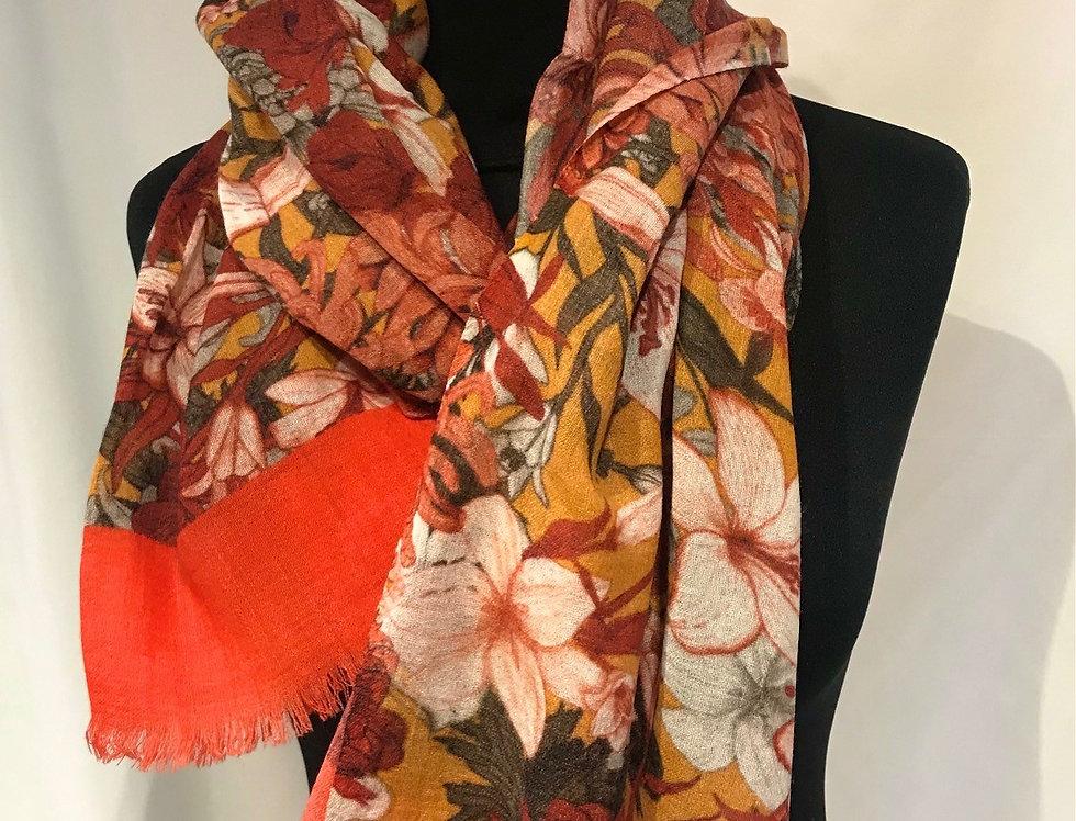 Orange Floral Wool