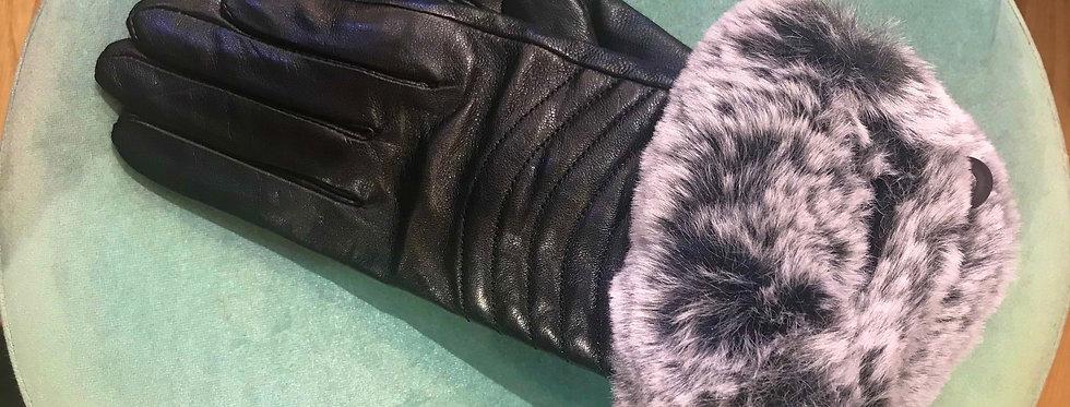 Leather Glove Grey Fur Cuff