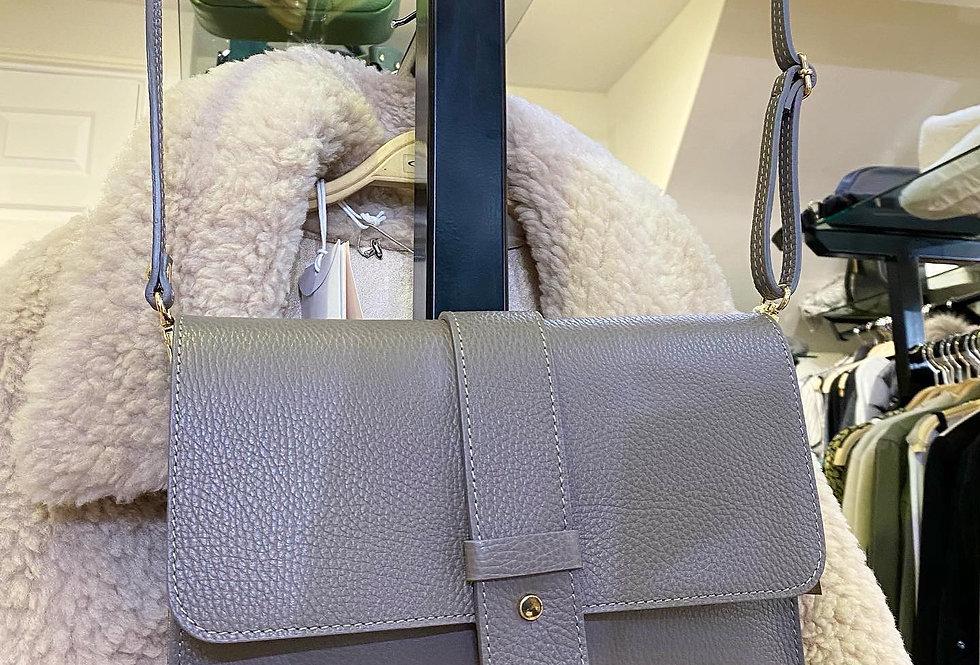 Grey Leather Envelope Bag