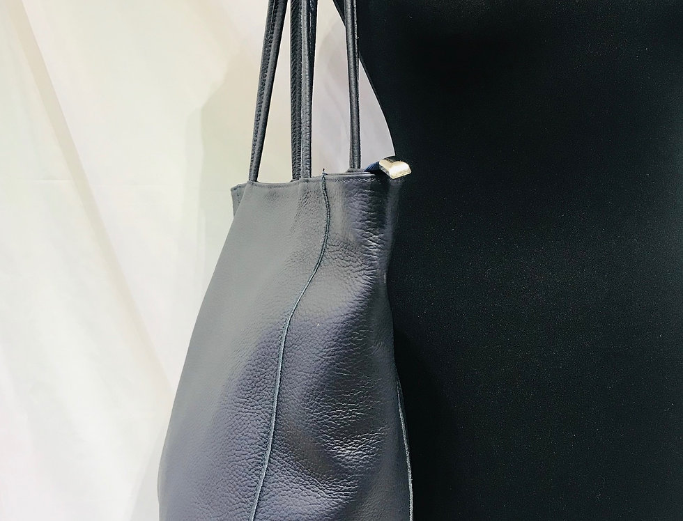 Navy Leather Shopper