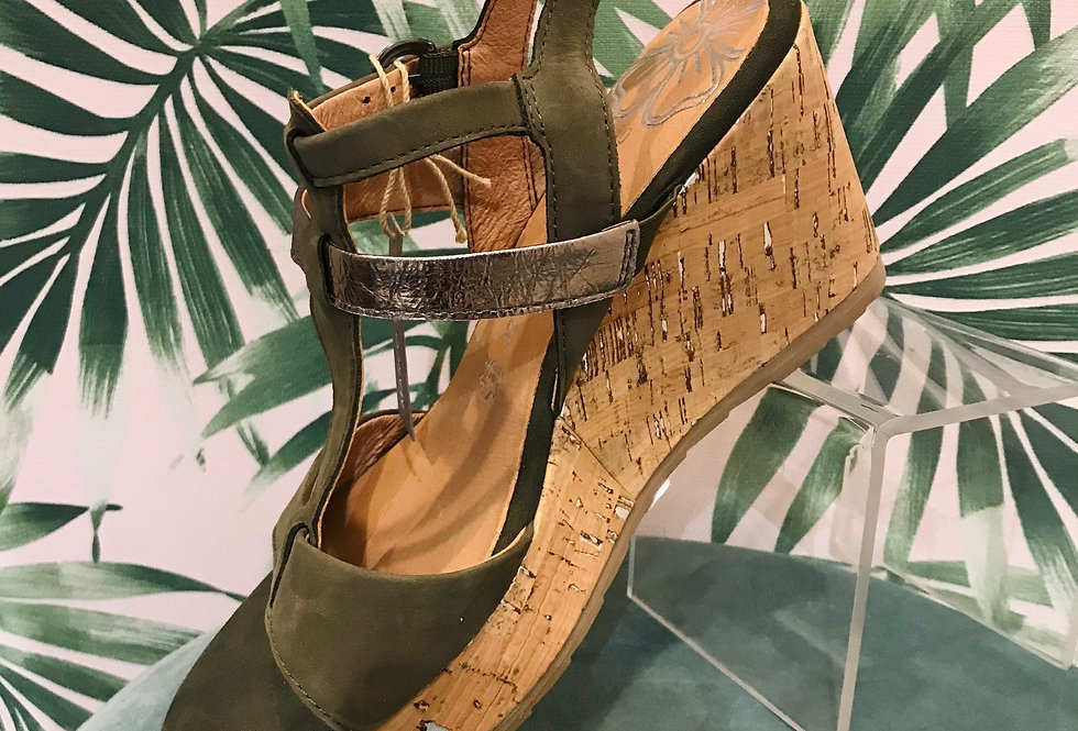 Khaki Wedge Sandal