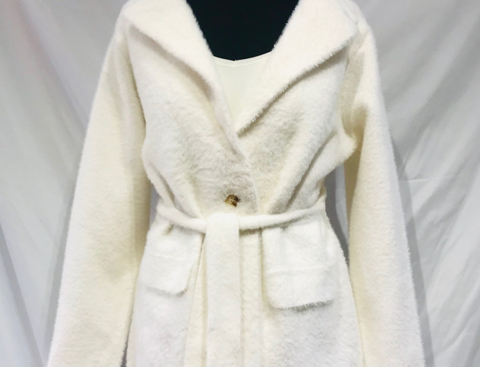 Belted Fluffy Cardigan