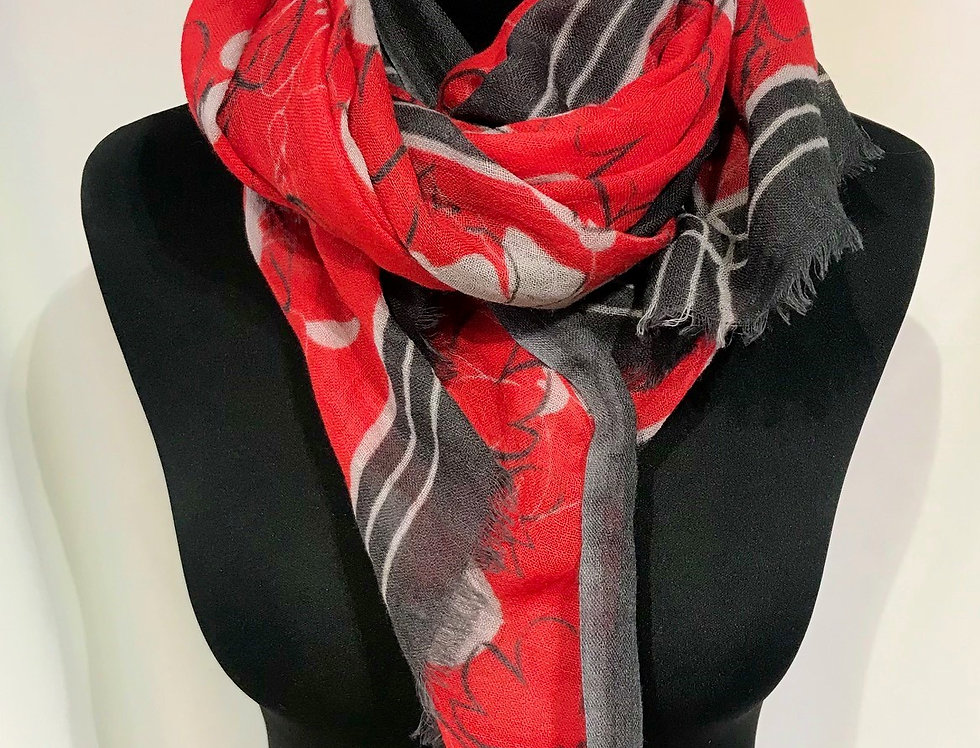 Red Wool Pattern Scarf