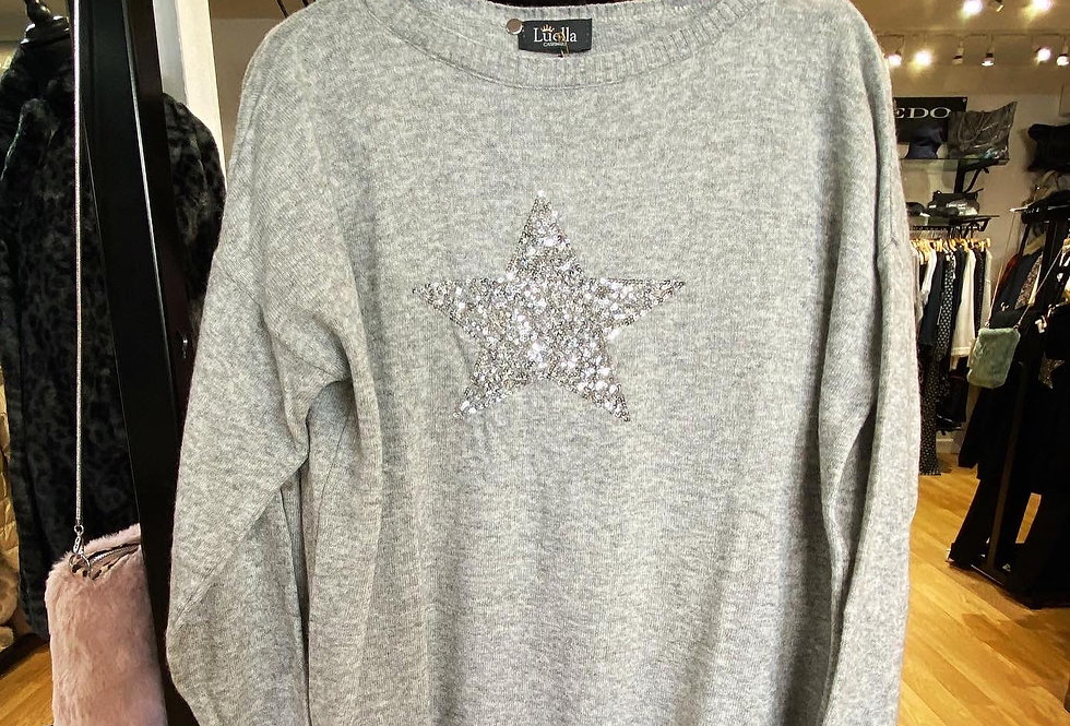 Grey/Silver Cashmere Sparkle Star Jumper