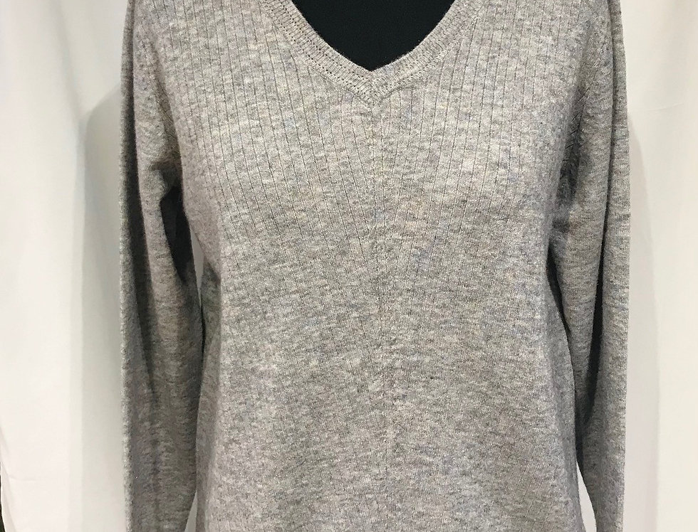 Grey Fleck V Neck Jumper