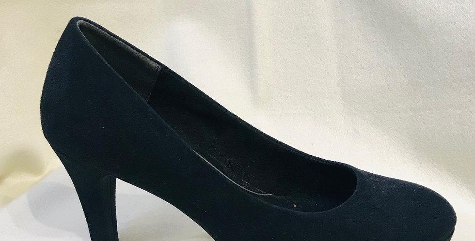 Navy Suede Court Shoe
