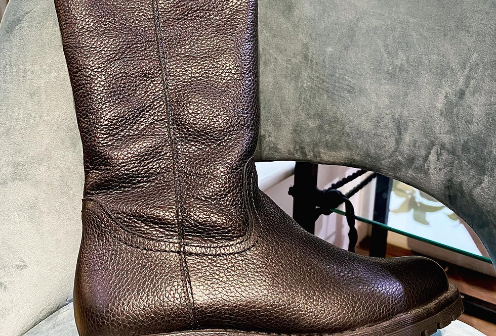 Leather Long Black Round-Toe Boots