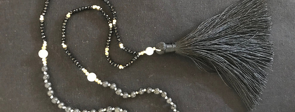 Long Black Tassel Necklace