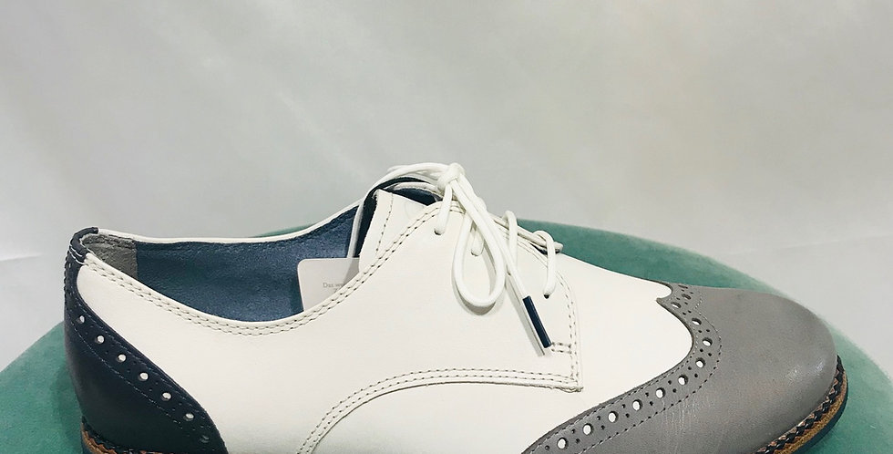 White & Grey Lace Up Brogue