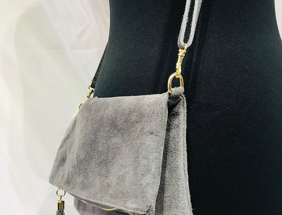 Suede Clutch/Shoulder Bag