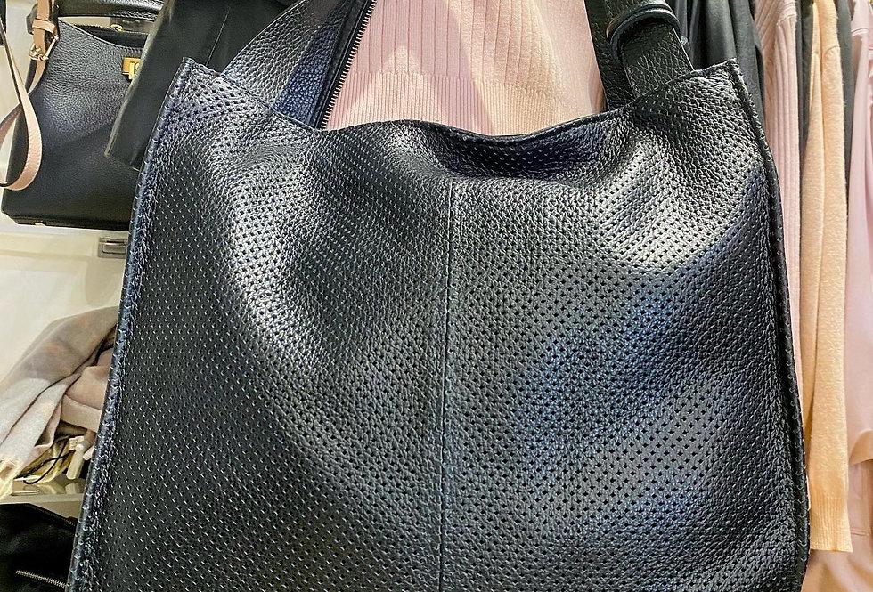 Textured Black Leather Bag