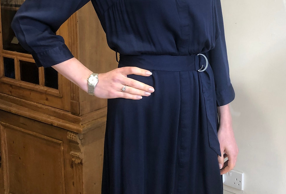 Navy Silky Belted Dress