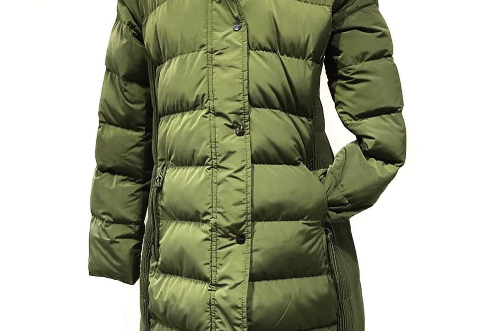 Long Olive Padded Fur Hood Coat
