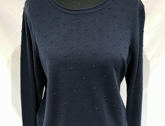 Bobbled Navy Crew Neck Jumper