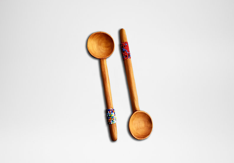 Olive Wooden Spoon (Beaded Handle)