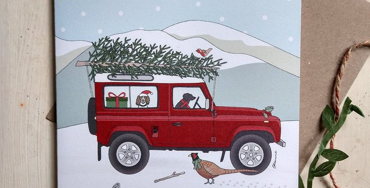 Christmas Red Land Rover Card