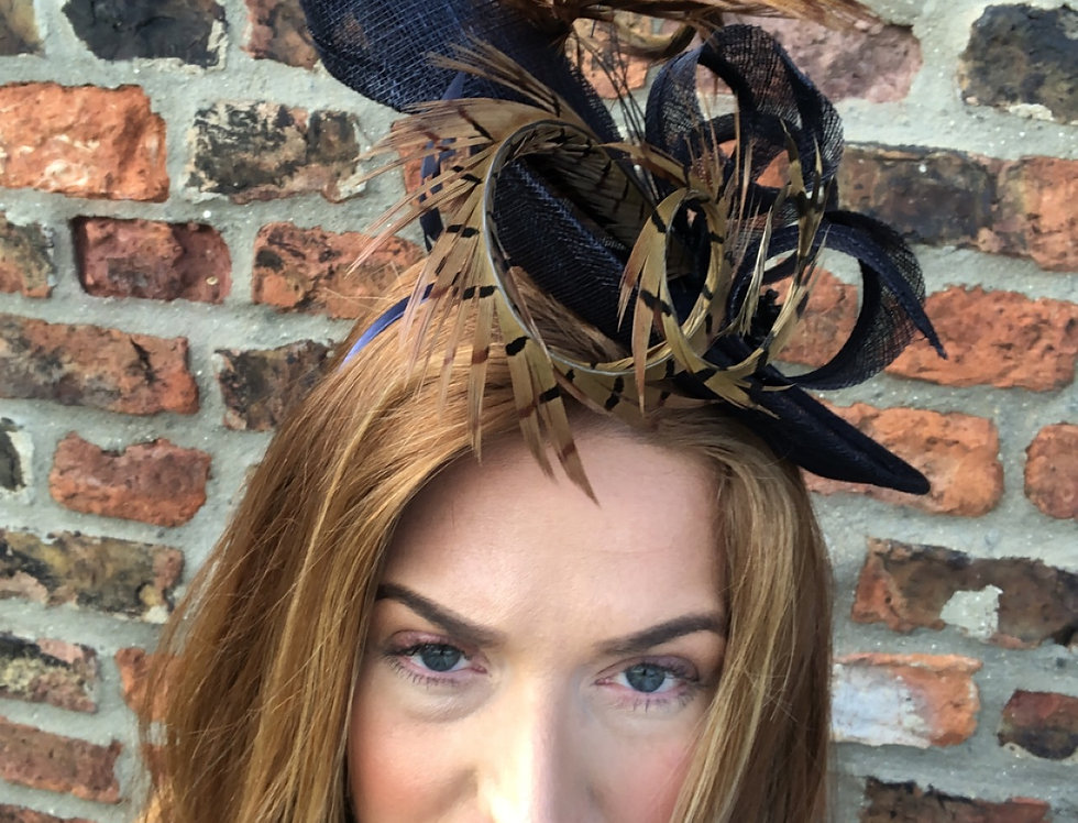 Grace Navy Feather Fascinator