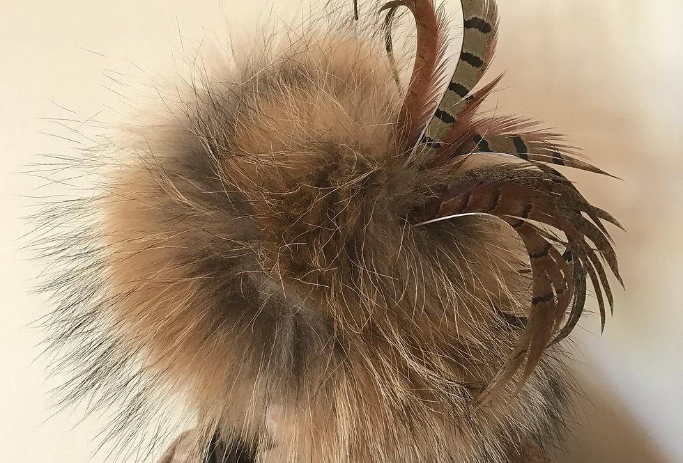 Racoon & Pheasant Feather Fascinator