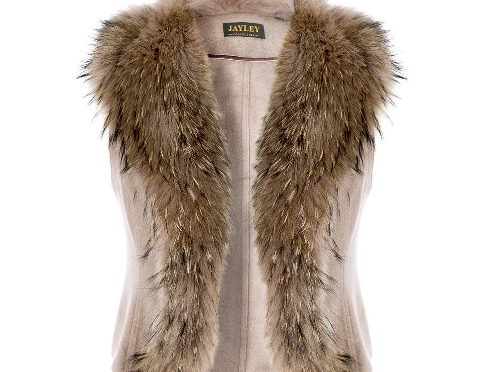 Luxury Fox Fur and Faux Suede Gilet
