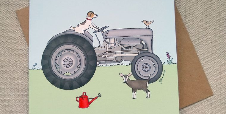 Little Grey Fergie Ferguson TE20 Tractor Greeting Card