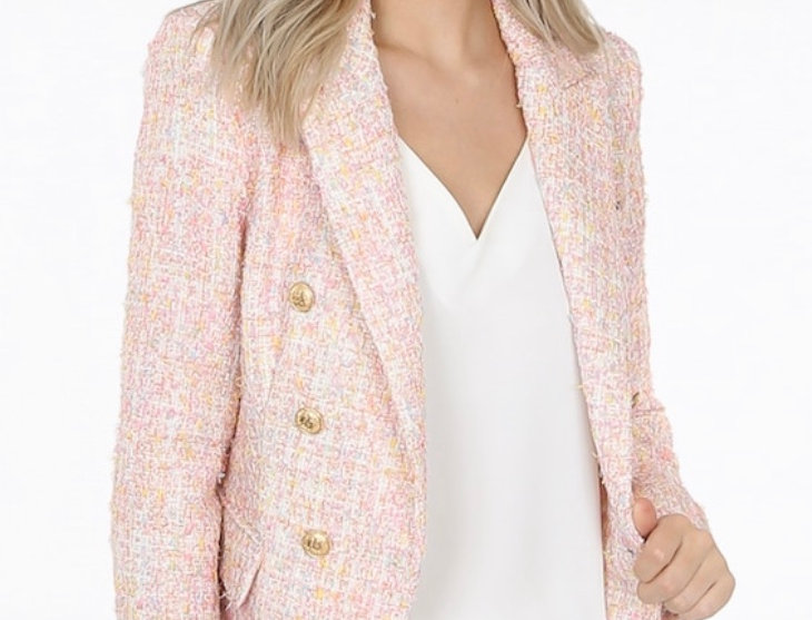 Multi Knit Spring Double Breasted Blazer