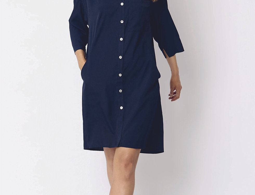 Silk Blend Oversized Shirt Dress