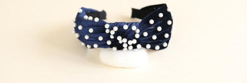 Navy Velvet Pearl Headband