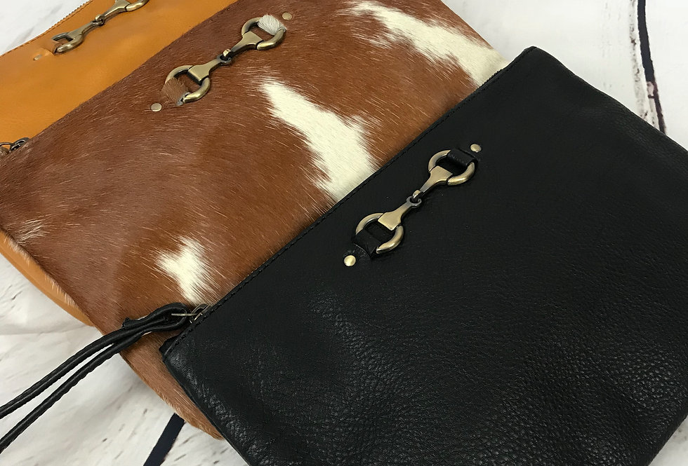 Leather Snaffle Clutch Bag