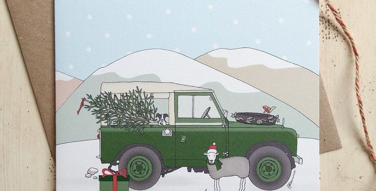 Christmas Green Land Rover Card