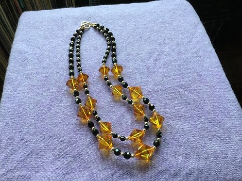 Claudon—Amber, Onyx and Gold Necklace