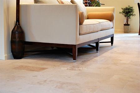 beige limestone, yellow limestone, stone floor, limestone floor, antiqued finish stone floor, stone interior, honed finish limestone