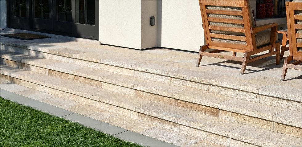 stone stairs, stone paver, yellow granite, beige granite, lychee finish stone, landscpae stone, hand finished stone,