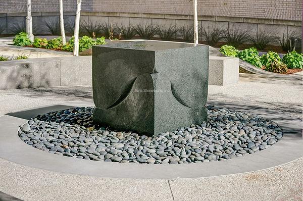 gray granite, stone water feature, stone sculpture, stone bench, landscpae stone