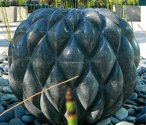 Moffett towers, chinese pillow fountain, stone water fountain, stone water feature, sculpture, stone sculpture,