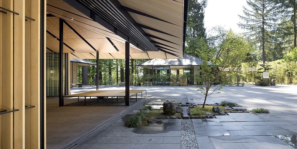 black graite, stone paver with fine adze finish, landscape stone, portland japanese garden