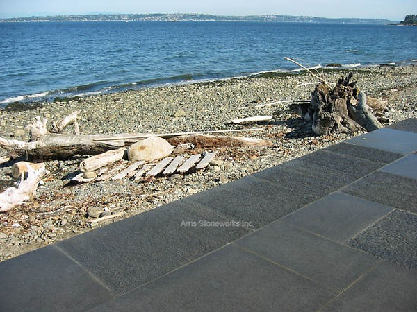 point stalk finish, black granite, grey granite, landscape stone, stone paver
