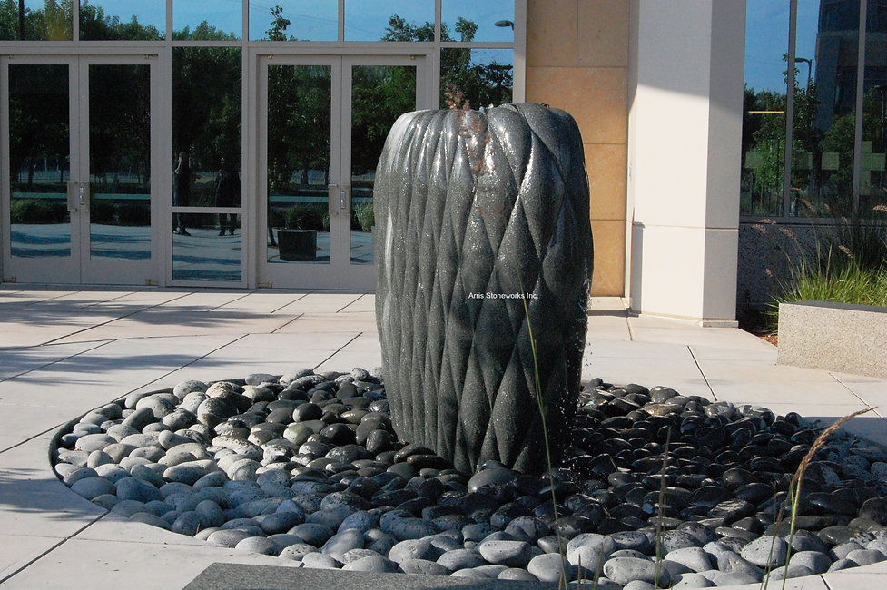 Moffett towers, chinese pillow fountain, stone water fountain, stone water feature, sculpture, stone sculpture